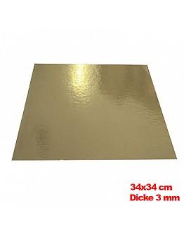 Tortenunterlage / Tortenuntersetzer Gold 34x34 cm 10 stk.