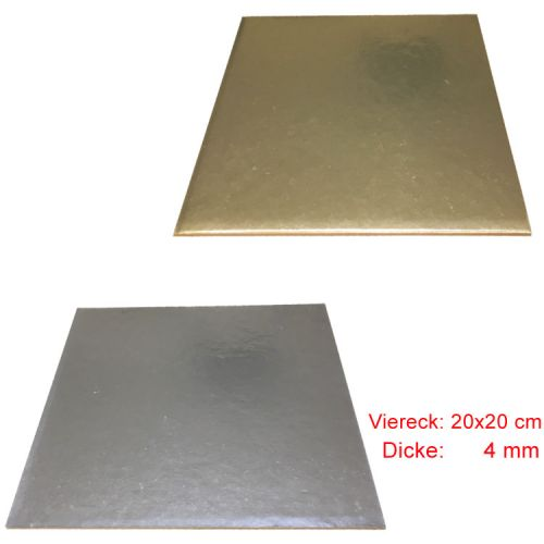 Viereck Tortenunterlage 2 seitig ( Gold & Silber ) 20x20 cm