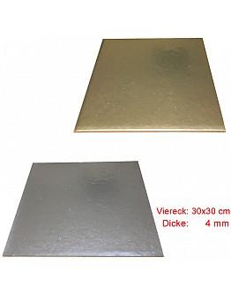 Viereck Tortenunterlage 2 seitig ( Gold & Silber ) 30x30 cm