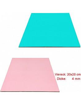 Viereck Tortenunterlage 2 seitig ( Pink & Blau ) 20x20 cm