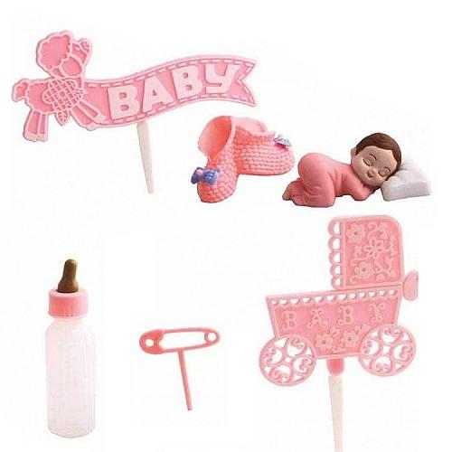 Rosa Schlafende Baby Torten Deko Set