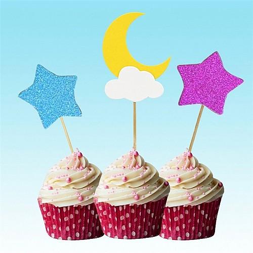 Cake Topper Glitzer Mond mit Sternen
