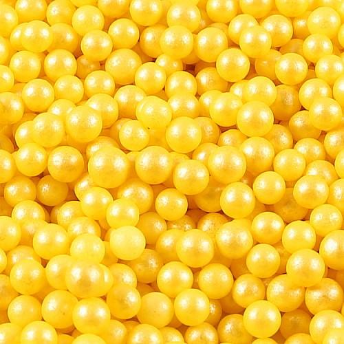 Zucker Deko-Perlen Glimmergelb 7 mm 50g