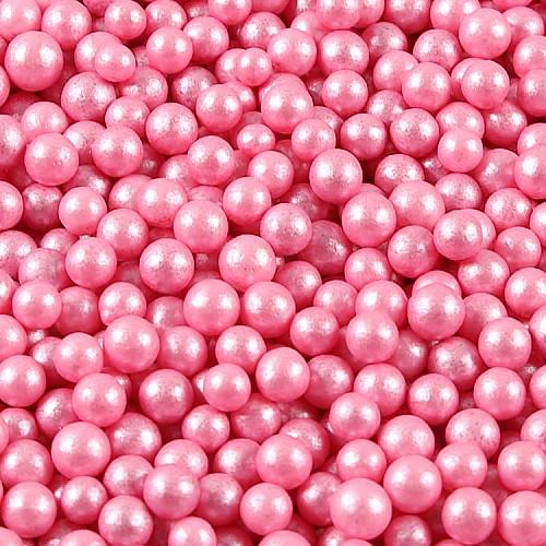 Zucker Deko-Perlen Glimmerpink 7 mm 50g