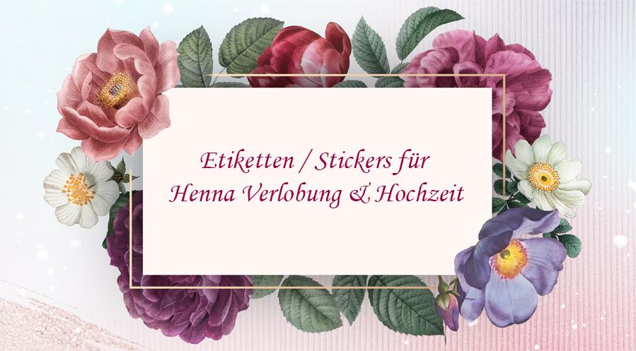 Etiketten / Stickers für Henna Verlobung & Hochzeit